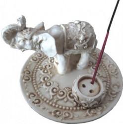 Porte Encens Rond en Résine Éléphant