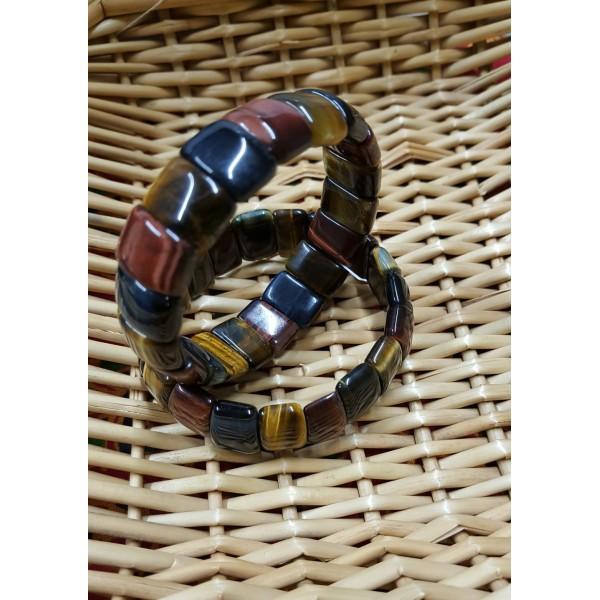 Oeil De Tigre, taureau, Faucon - Bracelet 3 oeils de 15mm
