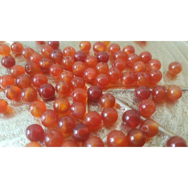 Cornaline unie - perle de 6mm