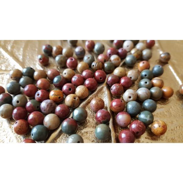Jaspe Polychrome - perle ronde de 6mm