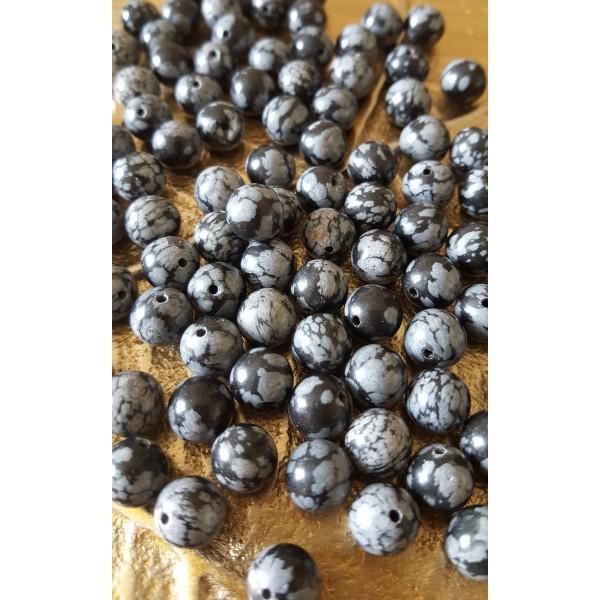 Obsidienne Neige - perle 8mm