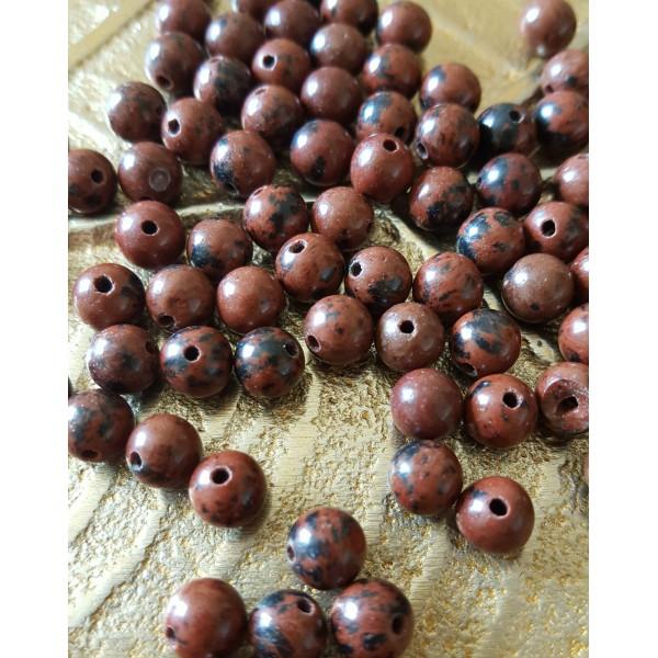 Obsidienne acajou - perle de 6mm