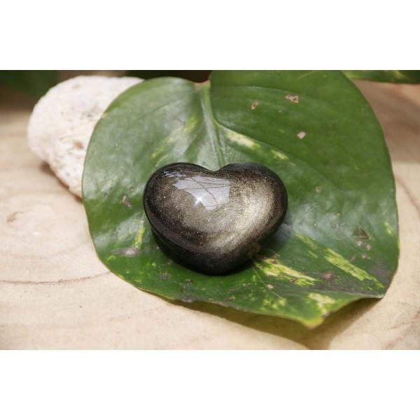 Obsidienne Dorée polie forme coeur 33 grs