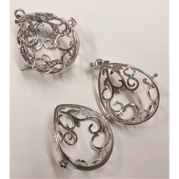 Cage à Pierres argentée ovale - pendentif 2,5x3,4 cms