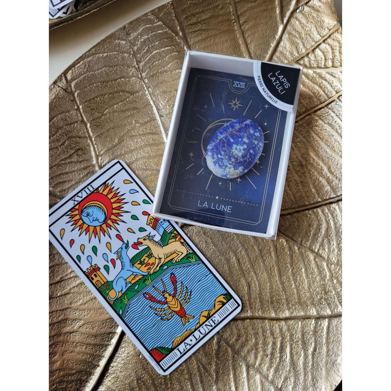"Galet Lapis Lazuli - arcane tarot ""La Lune"""